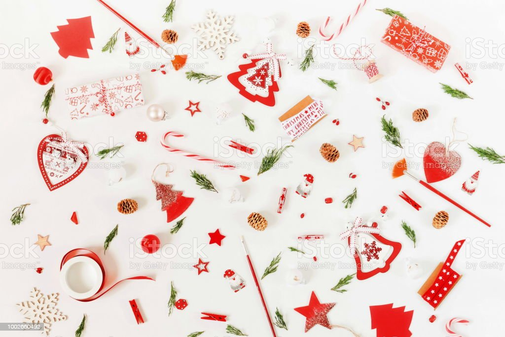 christmas background pattern from red and white christmas decorations and frame mock up xmas composition
