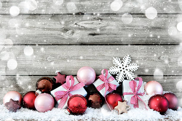 christmas background - vintage ornaments stock photos and pictures