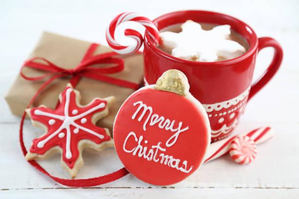 weihnachten hintergrund  - heiße schokoladen cupcakes stock-fotos und bilder
