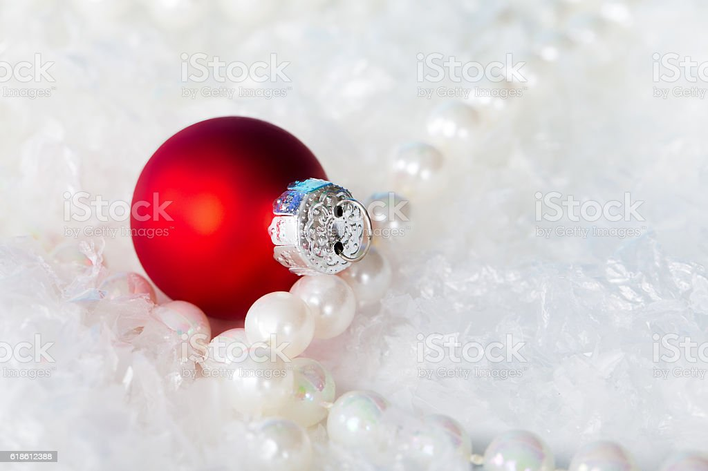 Christmas background red ball stock photo