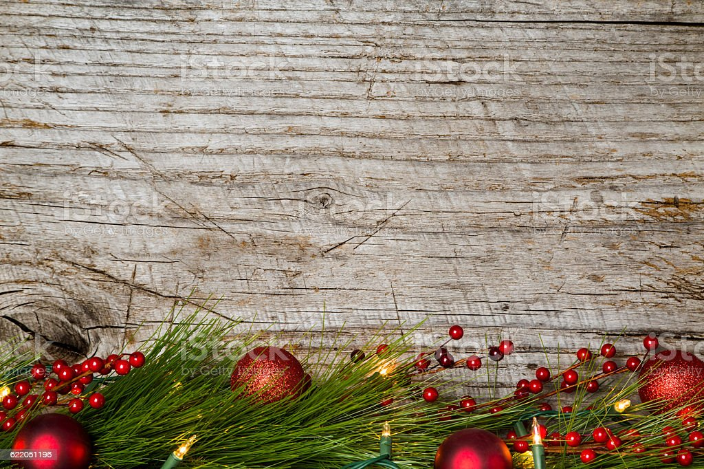 Christmas Background Rustic Wood And Lights Royalty Free Stock Photo