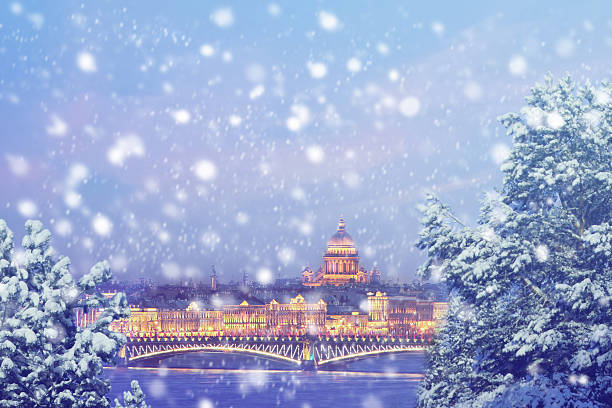 Christmas background : Saint Petersburg at winter sunset in Russia stock photo