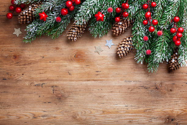 Christmas background. Snowy fir tree branches with fir cones and red berries on wooden board. Top view with space for text. Christmas background. Snowy fir tree branches with fir cones and red berries on wooden board. Top view with space for text and design. evergreen tree stock pictures, royalty-free photos & images