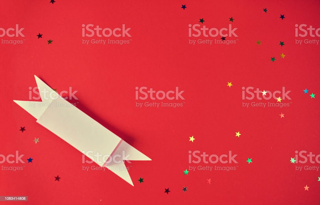 christmas background, sparkly stars on red bacground. design mockup stock photo