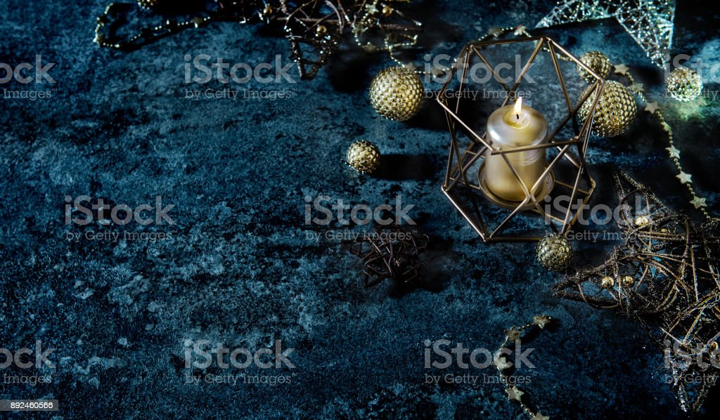 Christmas background stars balls candle lights decoration dark stock photo
