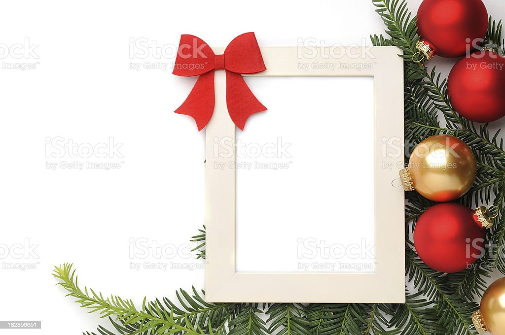Christmas background with a white frame royalty-free stock photo