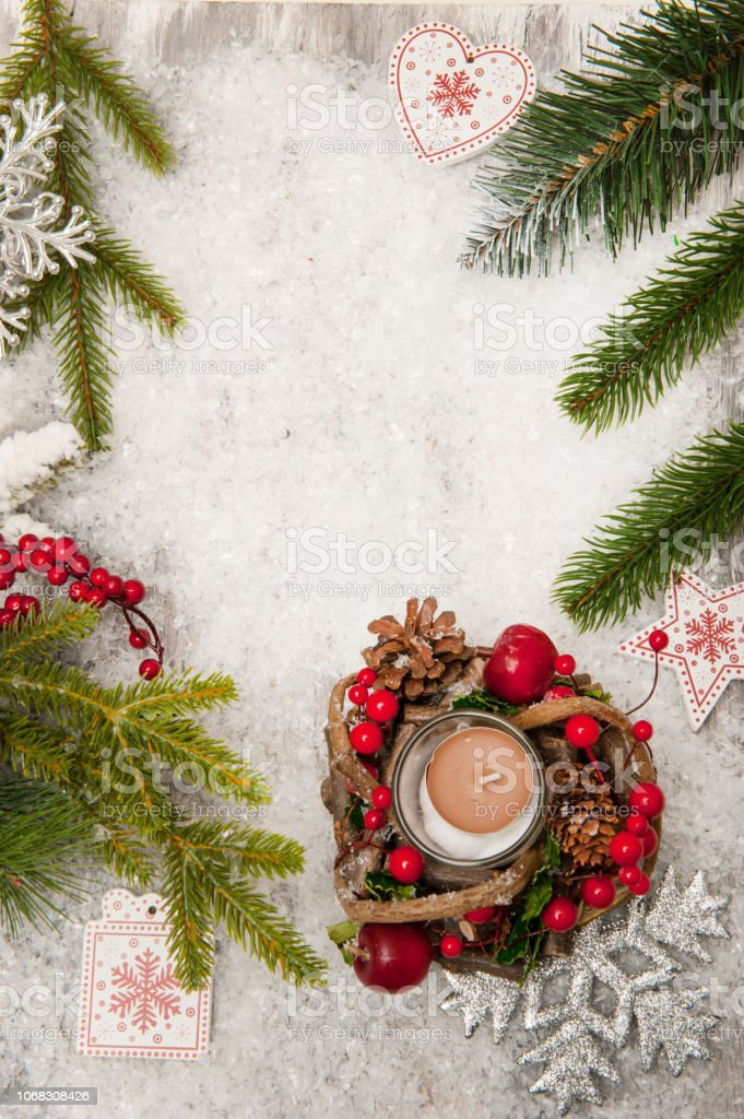 Christmas Tree Top View.Christmas Background With Artificial Snow Candle And