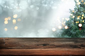 istock Christmas background with blank table 1279150959