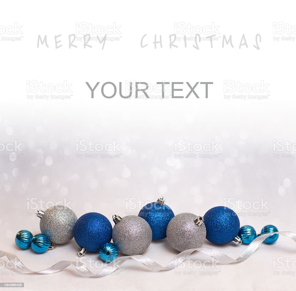 Christmas background with blue and white balls stock photo