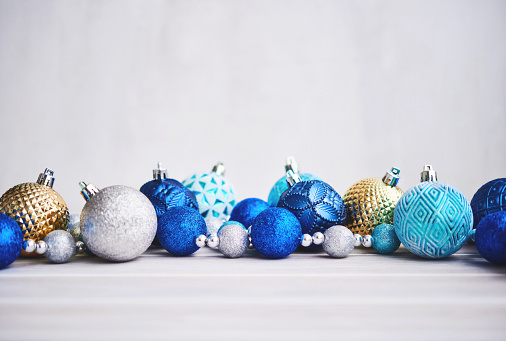 Christmas Background with Blue Silver and Gold Ornaments