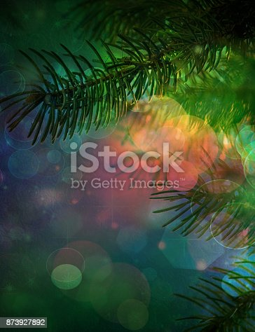 istock Christmas background with bokeh defocused lights and shadow. 873927892