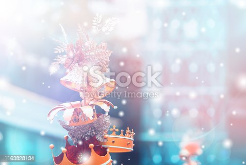 1083023980 istock photo Christmas Background with bokeh light; Blurred Xmas background 1163828134