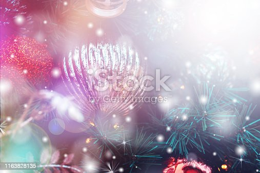 1083023980 istock photo Christmas Background with bokeh light; Blurred Xmas background 1163828135
