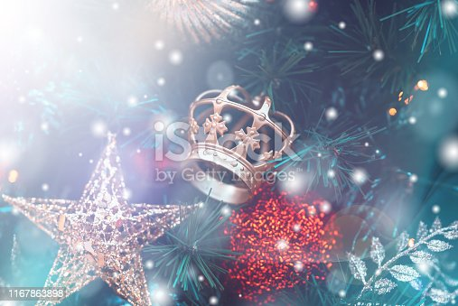 1083023980 istock photo Christmas Background with bokeh light; Blurred Xmas background 1167863898
