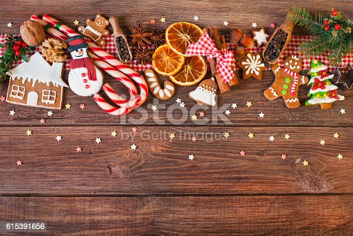 istock Christmas background with Christmas cookies, decoration and spices 615391656