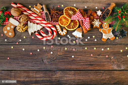 istock Christmas background with Christmas cookies, decoration and spices 618556686
