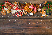 Christmas background with Christmas cookies, decoration and spices