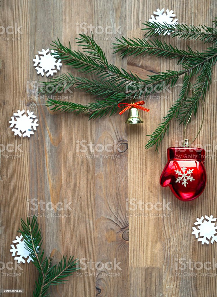 Christmas background with christmas toys and fir tree branches. Copy space. stock photo