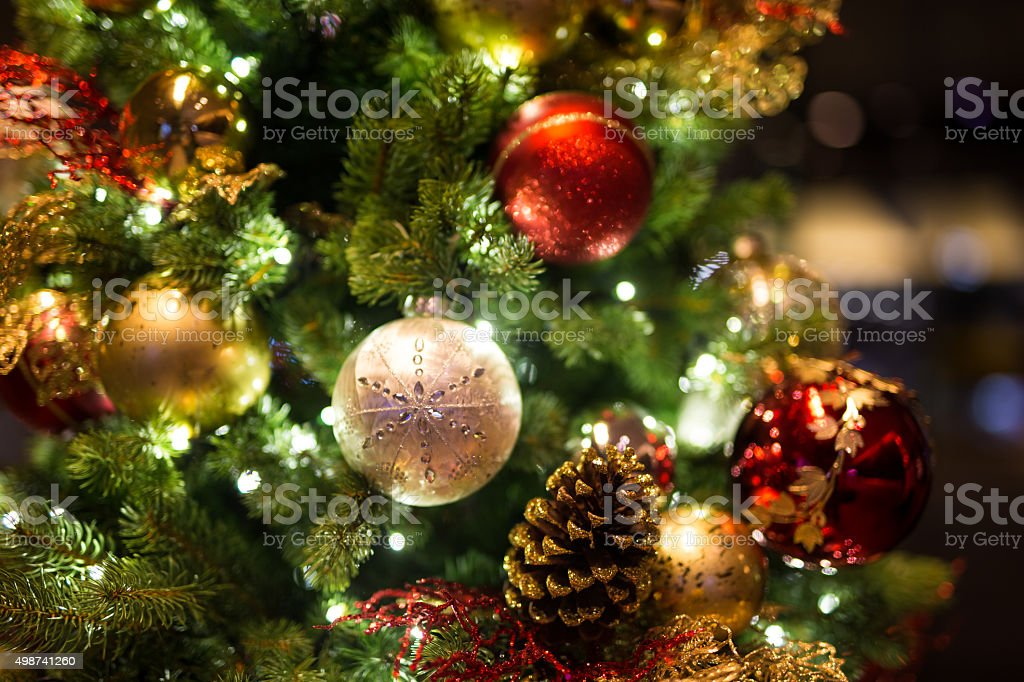 Christmas background with christmass balls - Soft focus stock photo