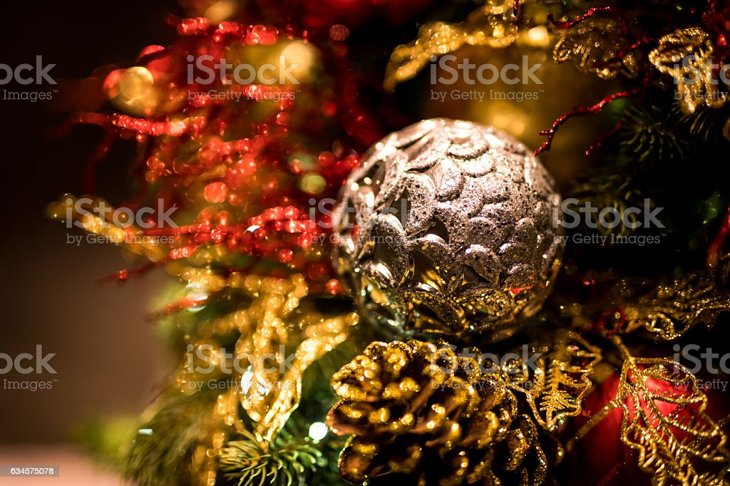 Christmas Background With Christmass Balls Soft Focus Stock Photo