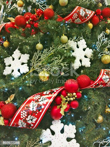 istock Christmas background with christmass decoration. 893922056