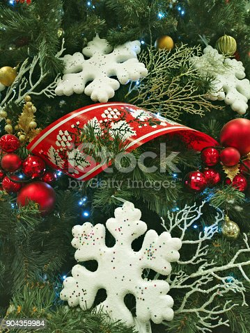 istock Christmas background with christmass decoration. 904359984