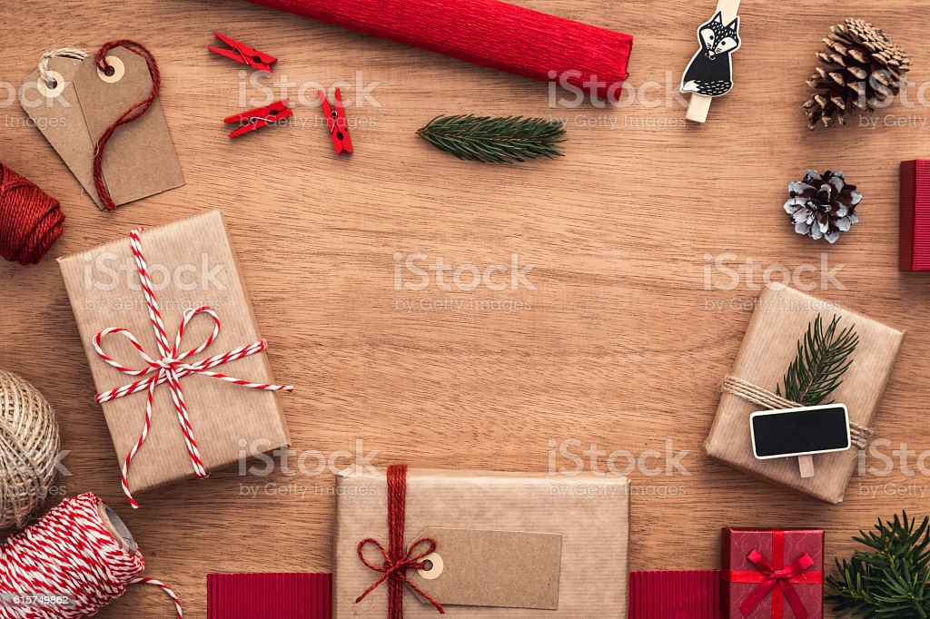 Christmas background with copy space. Wooden desk with presents. stock photo