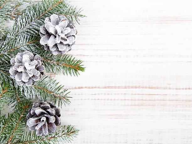 Fondo de Navidad con decoración con conos y twigs - foto de stock