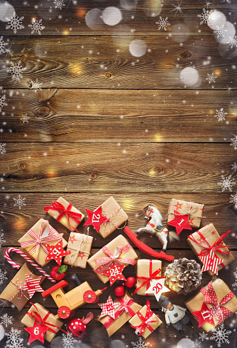 istock Christmas background with decorations and gift boxes 1043061984