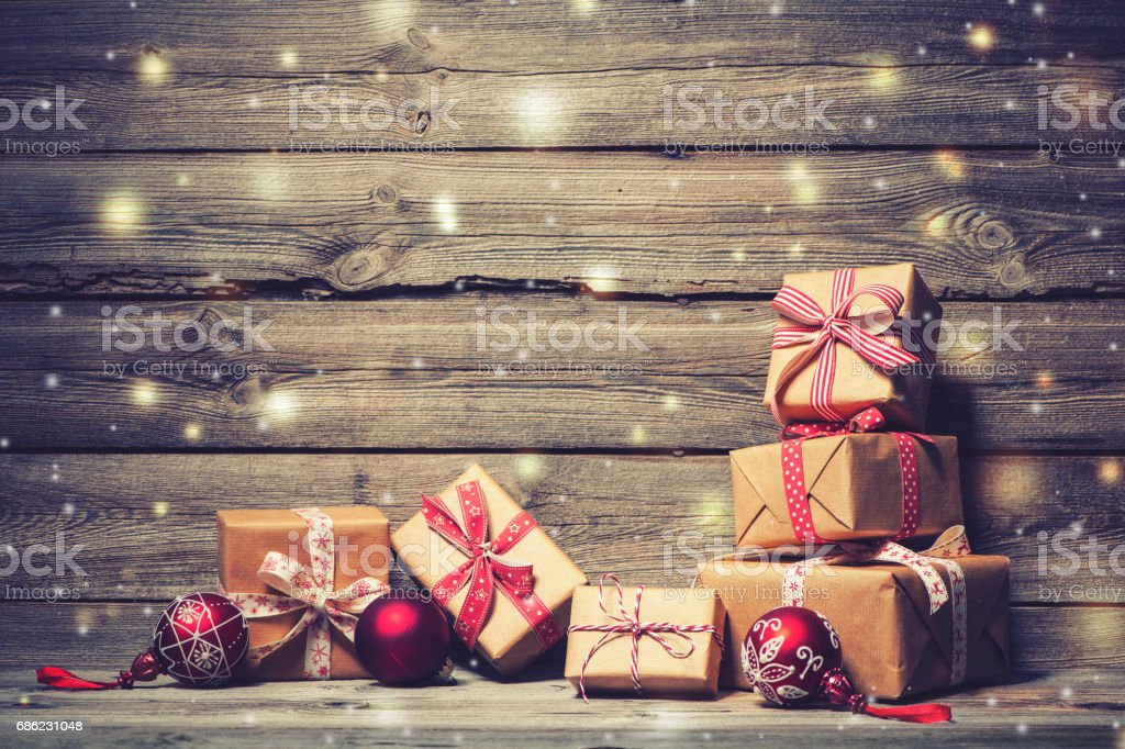 Christmas background with decorations and gift boxes stock photo