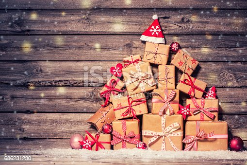 istock Christmas background with decorations and gift boxes 686231230