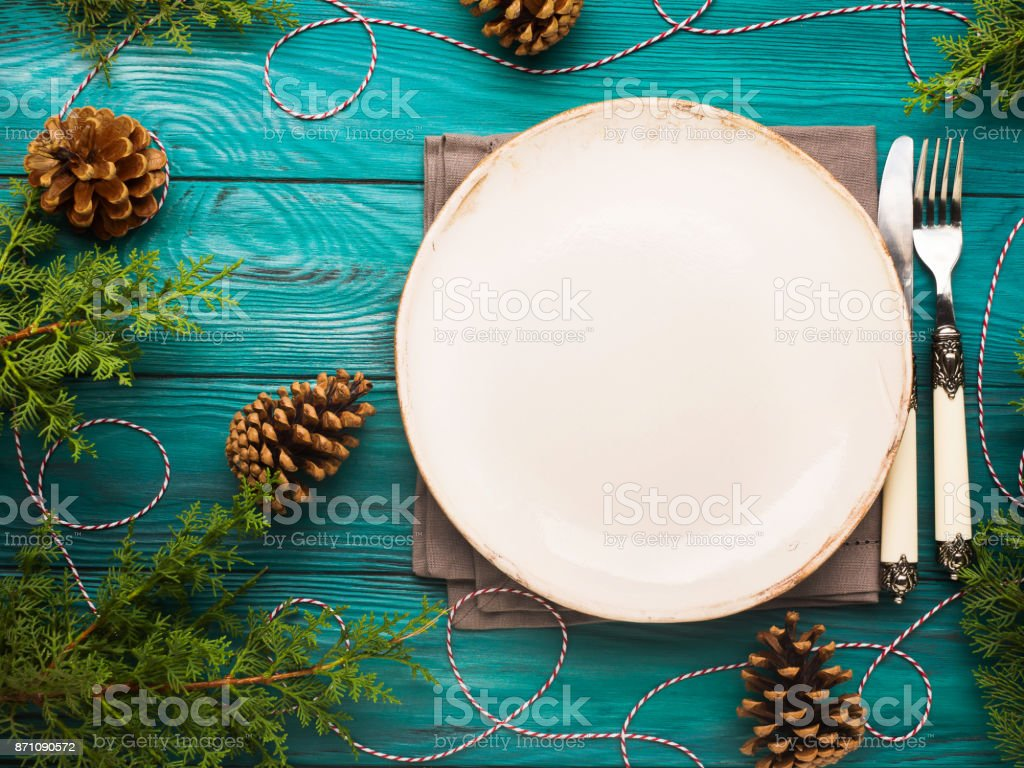 Christmas Background With Dish And Cutlery Stock Photo More