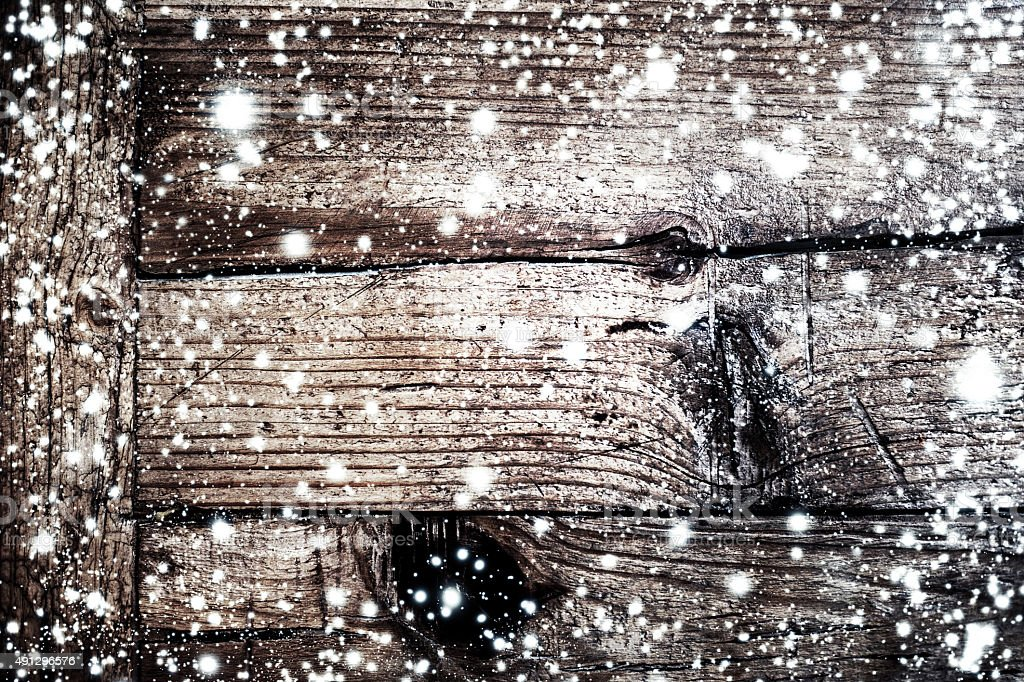 Christmas Background With Falling Snow And Xmas Lights On Dark Royalty Free Stock Photo