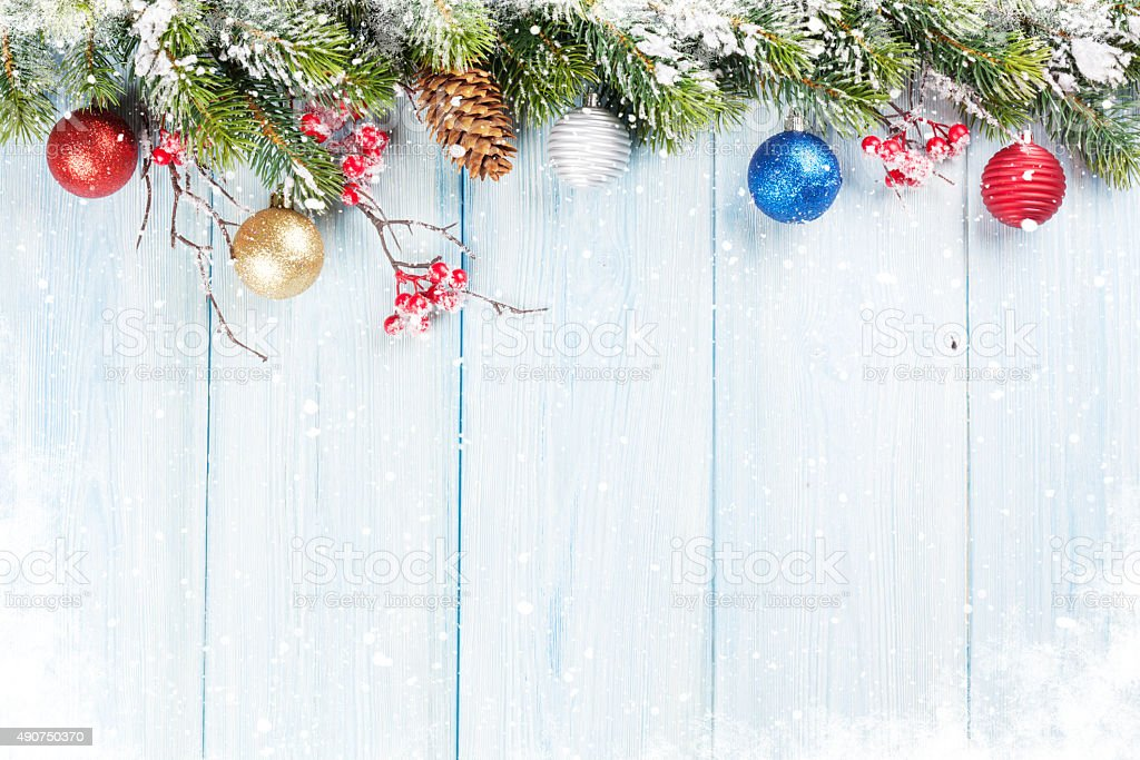 Christmas background with fir tree and decor stock photo