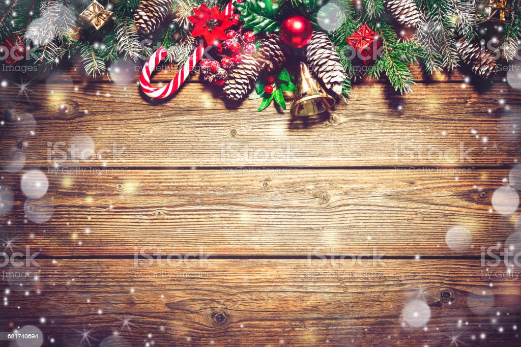 Christmas background with fir tree and decoration stock photo