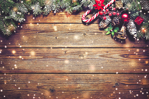 istock Christmas background with fir tree and decoration 686234778