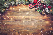 Christmas background with fir tree and decoration