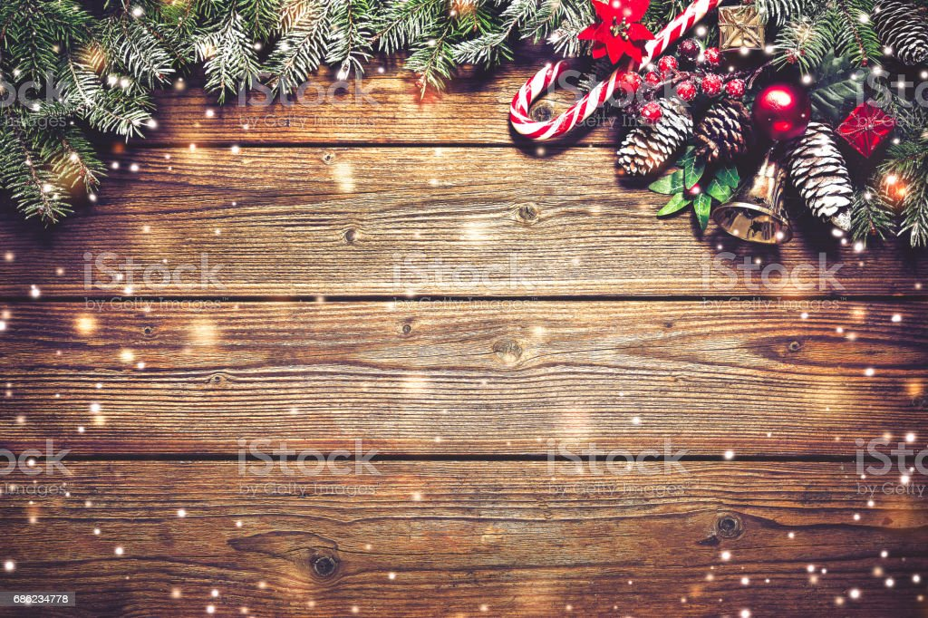 Christmas background with fir tree and decoration - foto de acervo