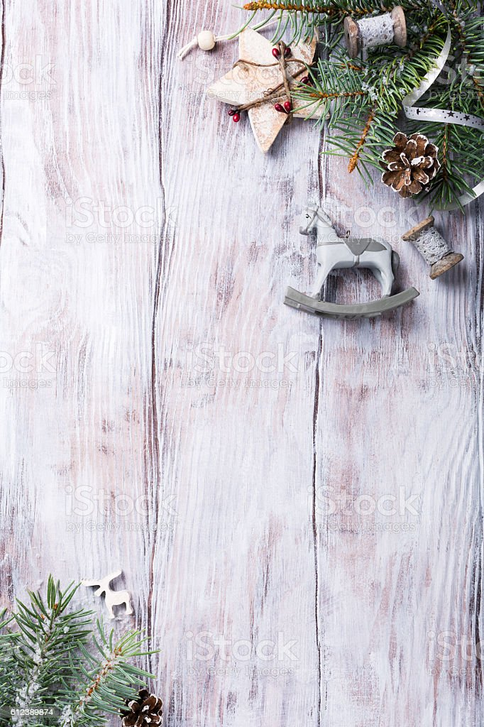 Christmas background with fir tree and decorations. stock photo