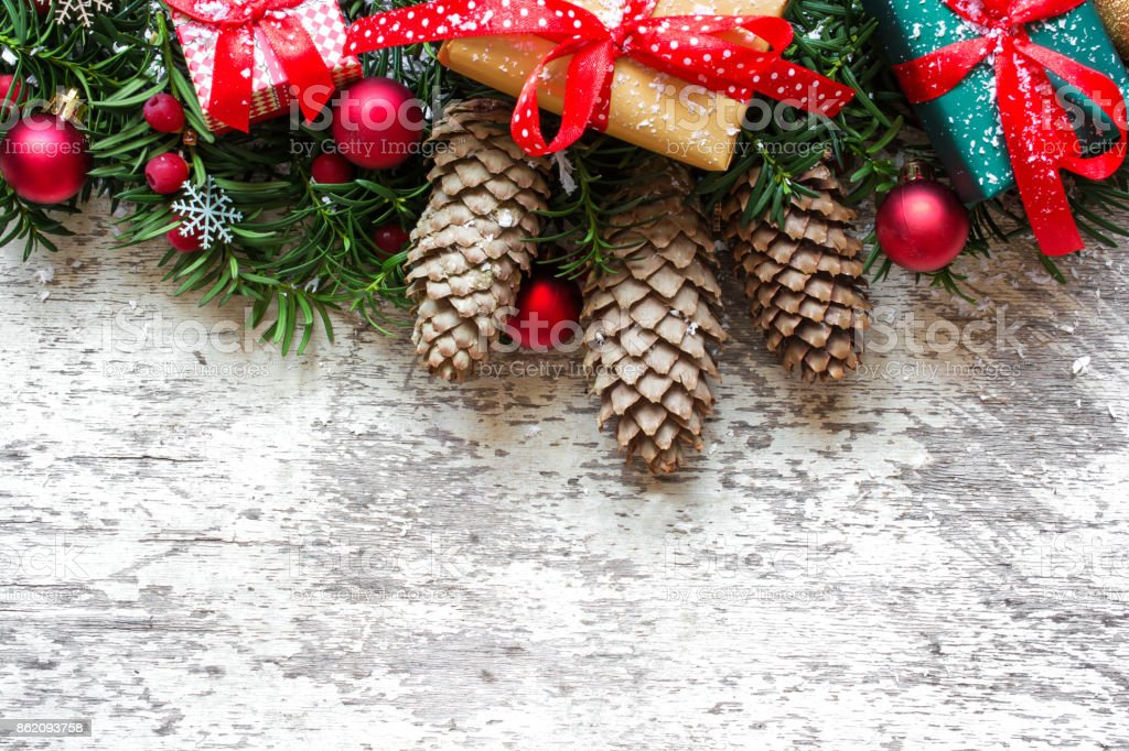 Christmas Background With Fir Tree Branches Decorations And Gift
