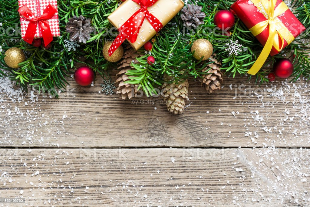 Christmas Background With Fir Tree Branches Decorations Pine Cones