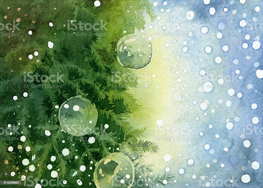 Christmas background with fir tree branches stock photo