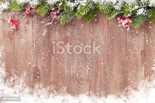 istock Christmas background with fir tree 492583952