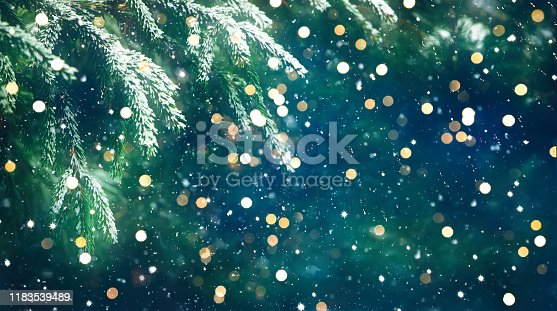 istock Christmas Background with fresh fir tree 1183539489