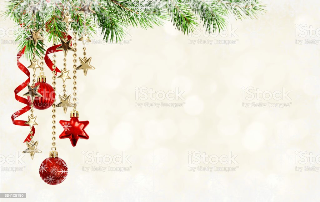 Christmas Background Pic.Christmas Background With Green Pine Twigs Hanging Red