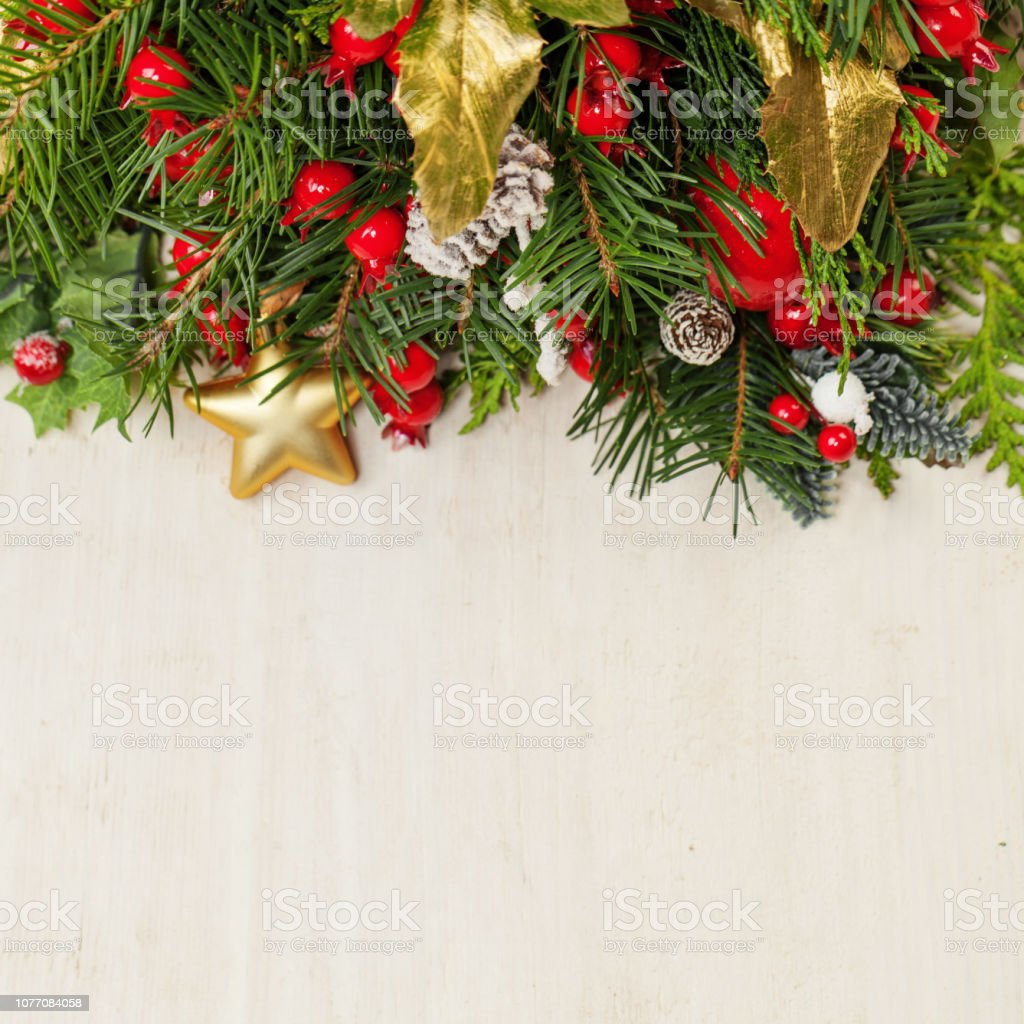 Christmas Background With Green Xmas Tree Twig And New Year Decoration Stock Photo Download Image Now Istock