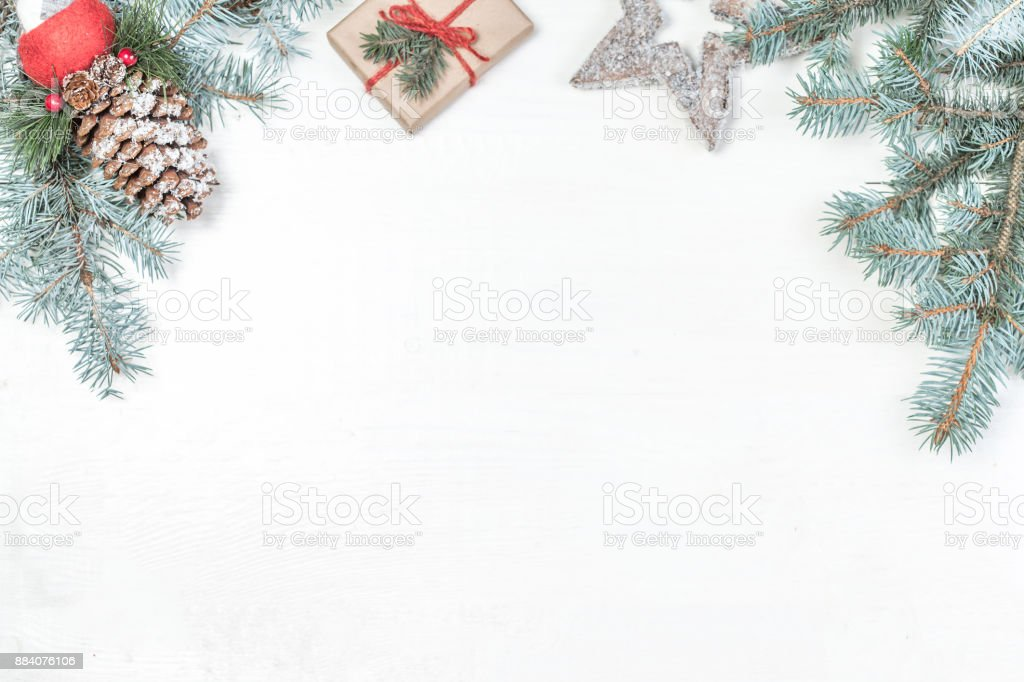 christmas background with holiday decoration elements presents and