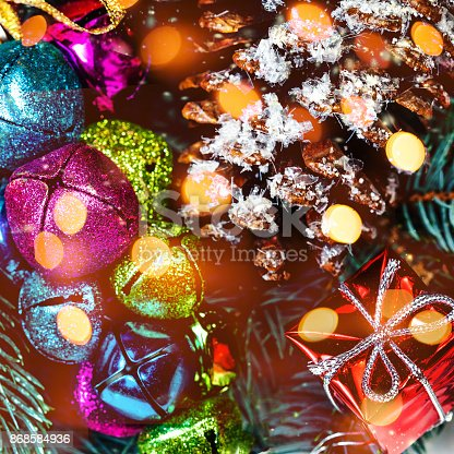 846933050istockphoto Christmas background  with holiday decorations and bokeh lights  in vintage style with copy space 868584936