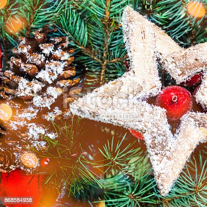 846933050istockphoto Christmas background  with holiday decorations and bokeh lights  in vintage style with copy space 868584938
