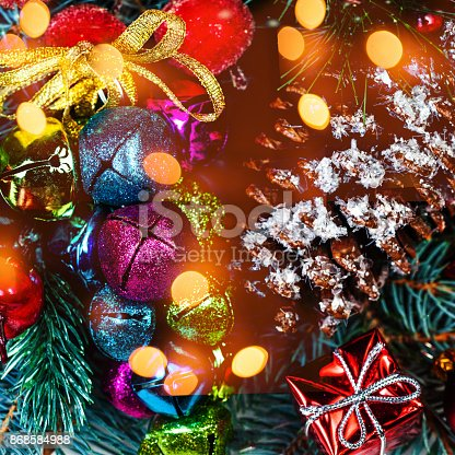 846933050istockphoto Christmas background  with holiday decorations and bokeh lights  in vintage style with copy space 868584988
